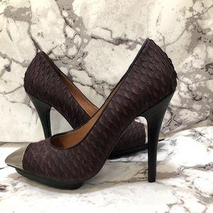 Burgundy silver toe-ed stiletto heels
